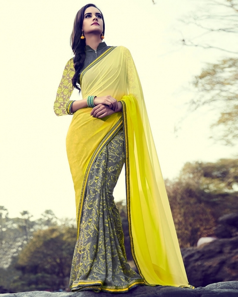 Ravishing Partywear Yellow Georgette Designer Fancy Saree