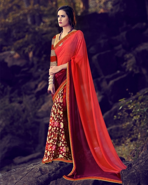 Astonishing Partywear Red Georgette Designer Fancy Saree