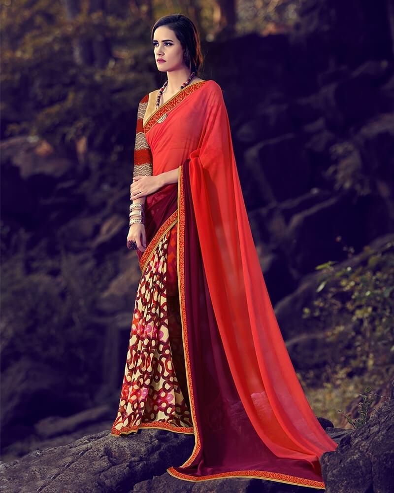 Astonishing Partywear Red Georgette Designer Fancy Saree