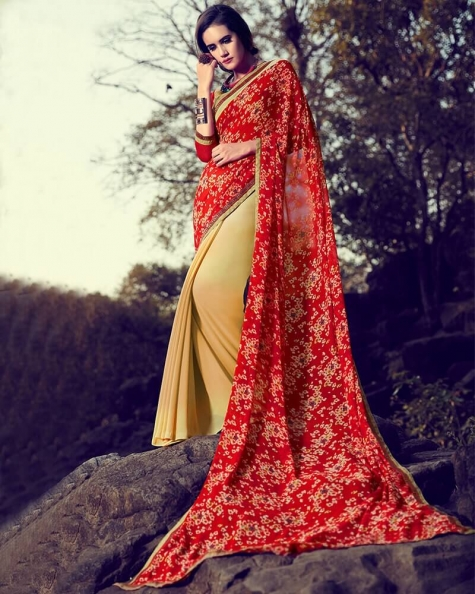 Beguiling Partywear Designer Red Georgette Printed Fancy Saree
