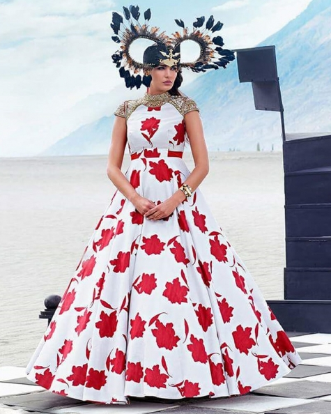 Attractive Partywear flower with digital print And handwork gown