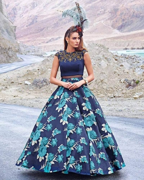 Impressive Designer Partywear 3D print  And scuba Handworked gown