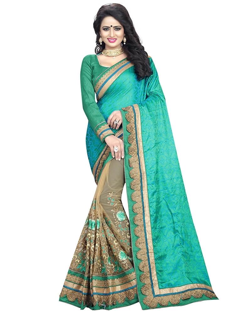 Lovely Designer Embroidery Green Art Silk Saree