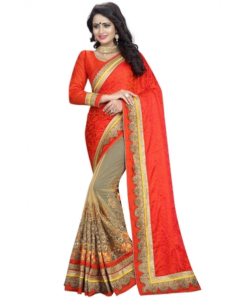 Sizzling Partywear Designer Embroidery Orange Art Silk Saree