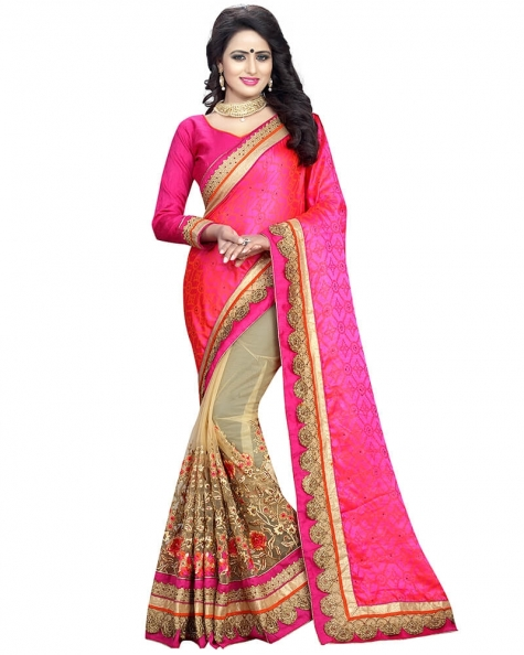 Splendid Designer Embroidery Pink Art Silk Saree