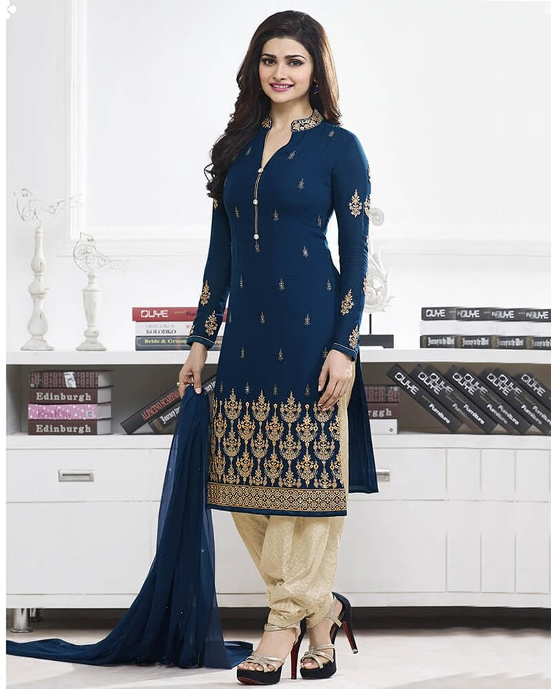 Entrancing Designer Embroidery Navy Blue Georgette Salwar Suit