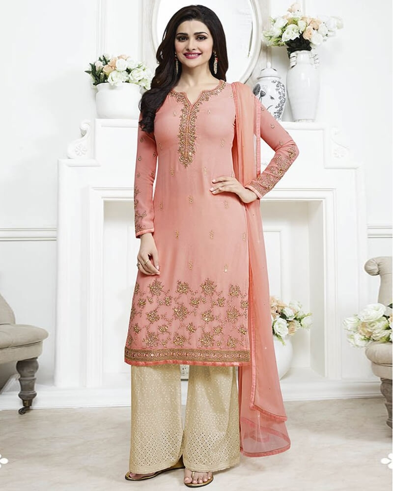 Spellbinding Wedding Embroidery Peach Georgette Salwar Suit