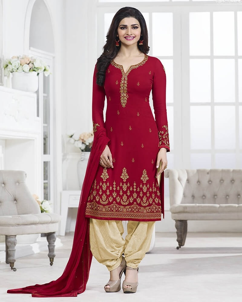 Striking Wedding Designer Embroidery Maroon Georgette Salwar Suit