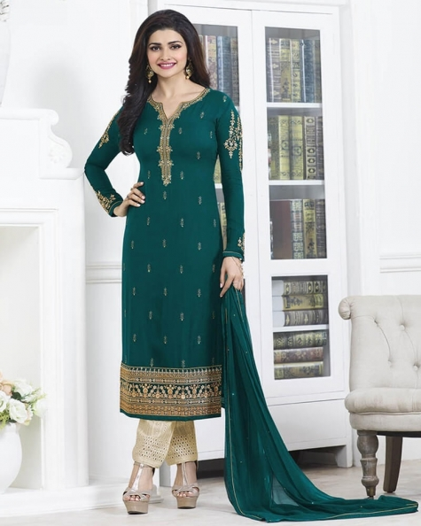 Magnificent Wedding Designer Embroidery Rama Georgette Salwar Suit