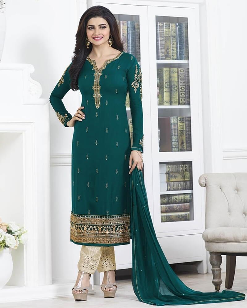 Magnificent Wedding Designer Embroidery Rama Georgette Salwar Suit
