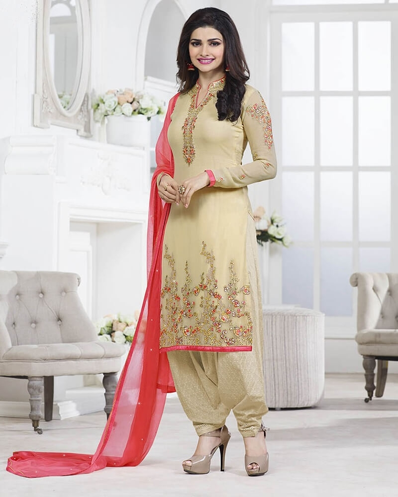 Elegant Designer Embroidery Cream Georgette Salwar Suit