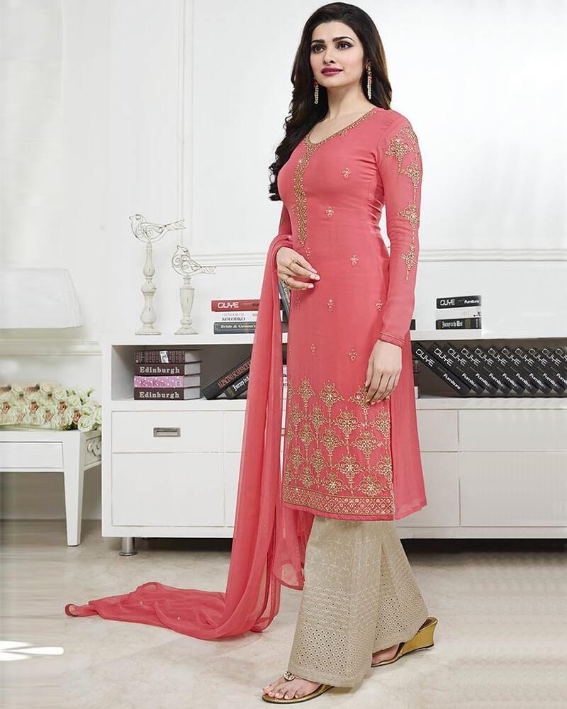 Stunning Wedding Designer Embroidery Pink Georgette Salwar Suit