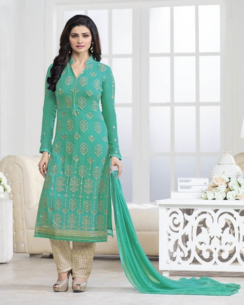 Fashionable Designer Embroidery Green Georgette Salwar Suit