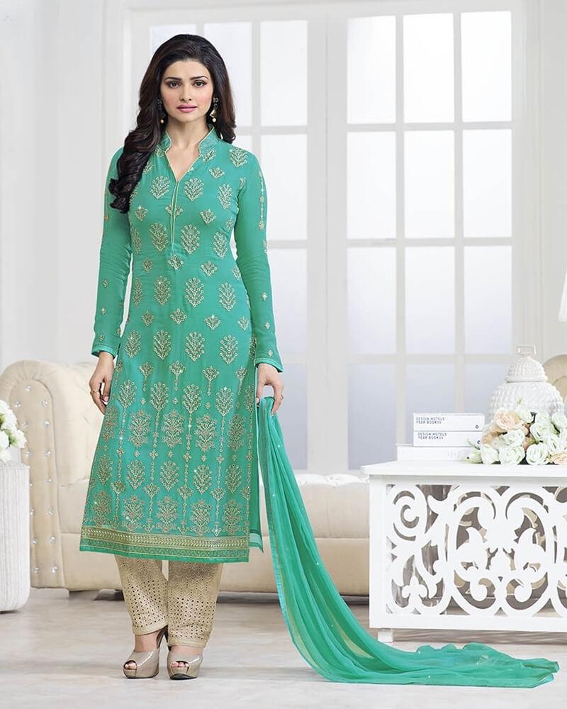 Fashionable Designer Embroidery Green Georgette Salwar Suit