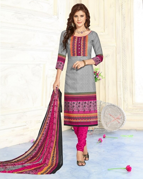 Charismatic Grey Pure Cotton Designer Printed Dress Material