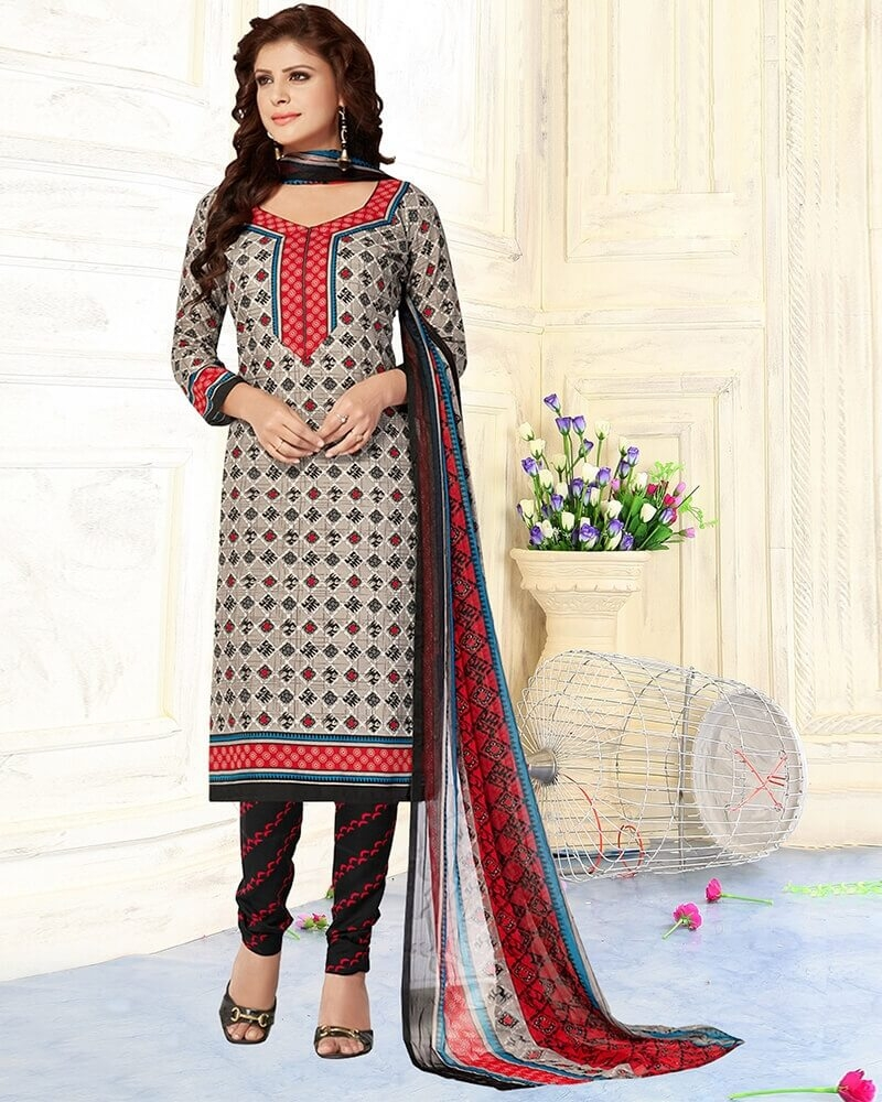 Appealing Printed Grey Pure Cotton Designer Dress Material