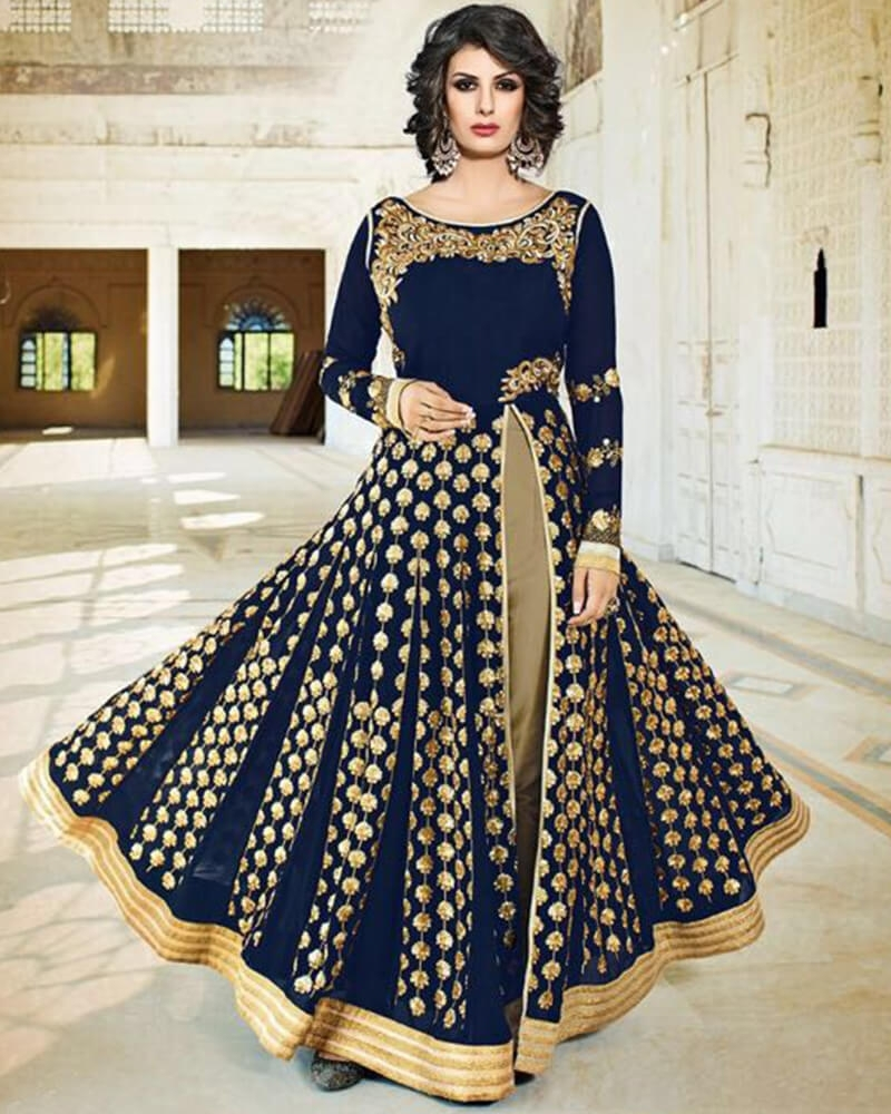 Fascinating Designer Embroidery  Blue Georgette Partywear Suit