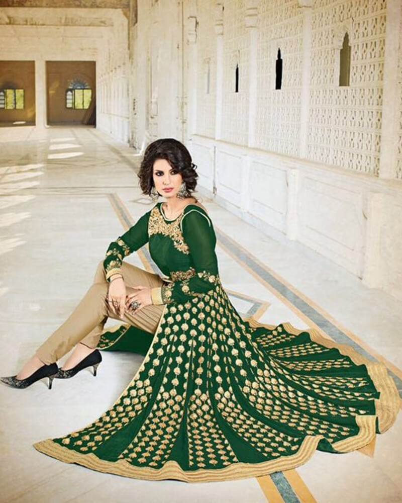 Magnificent Green Georgette Partywear Suit