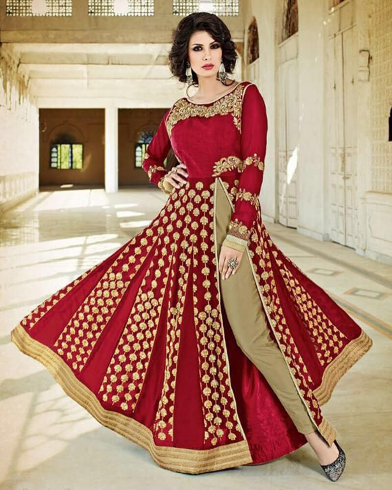 Spectacular Red Georgette Partywear Suit