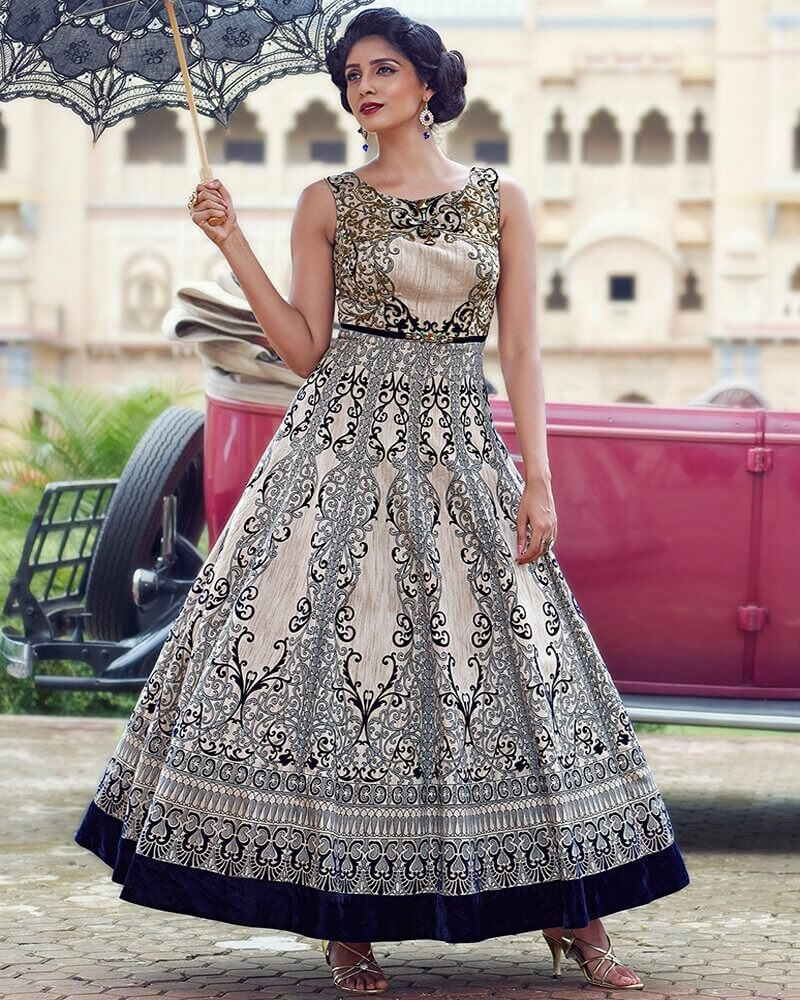 Glamorous Designer Multicolor Banglori Silk Partywear Suit