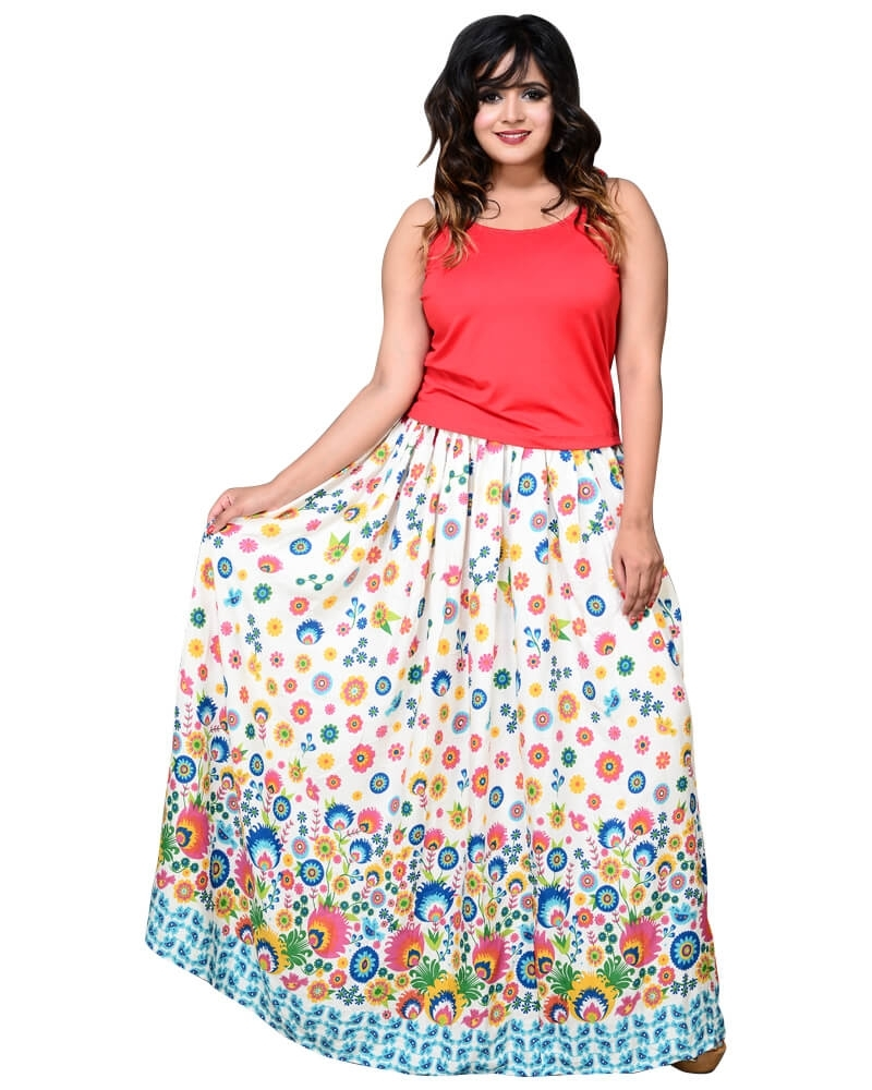 Designer MultiColor Printed Off White Long Skirt