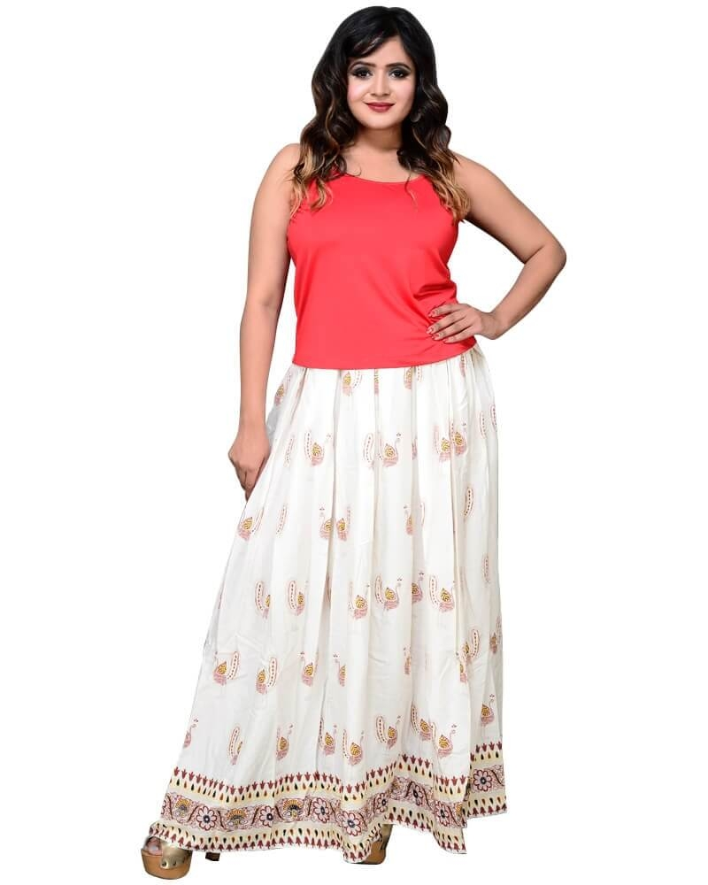 Designer Print Off White Pleated Long Skirt