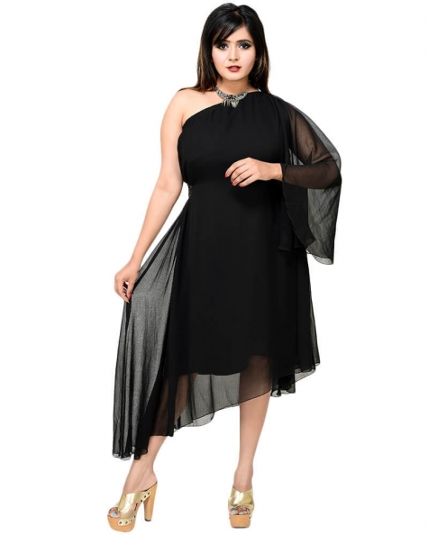 Black asymmetric flared dress