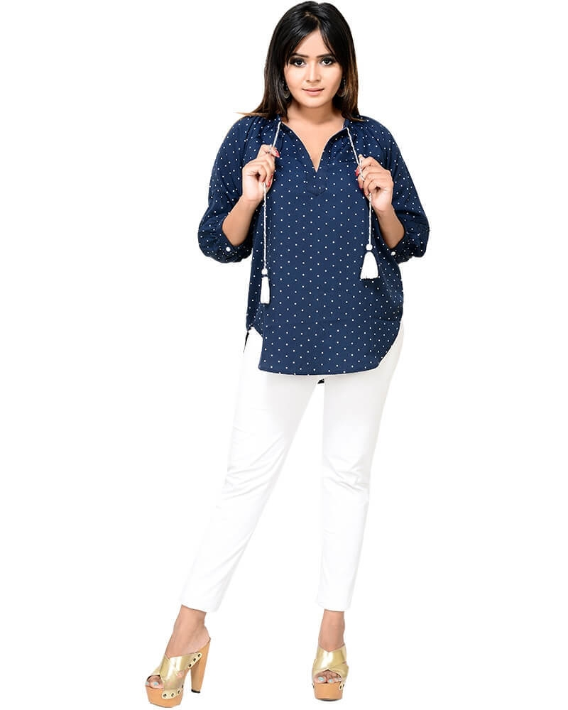 Stylish Tussel Blue Polka Print Top