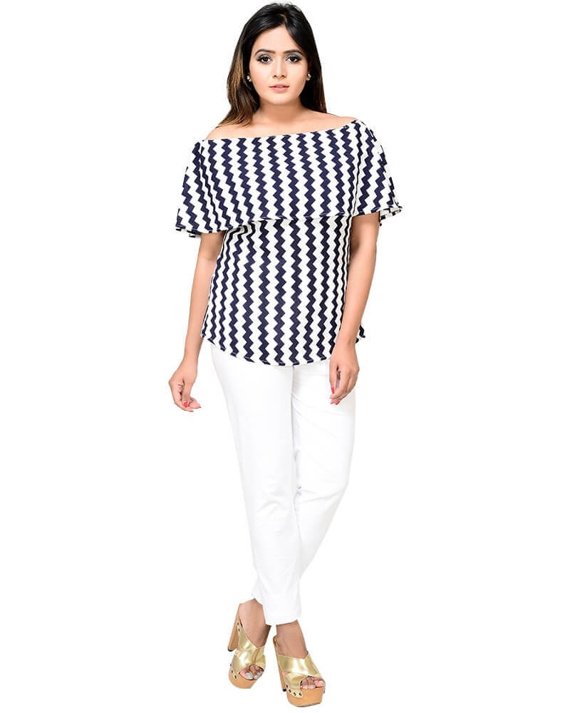Sophisticated Body Hugging Texco off shoulder cape top