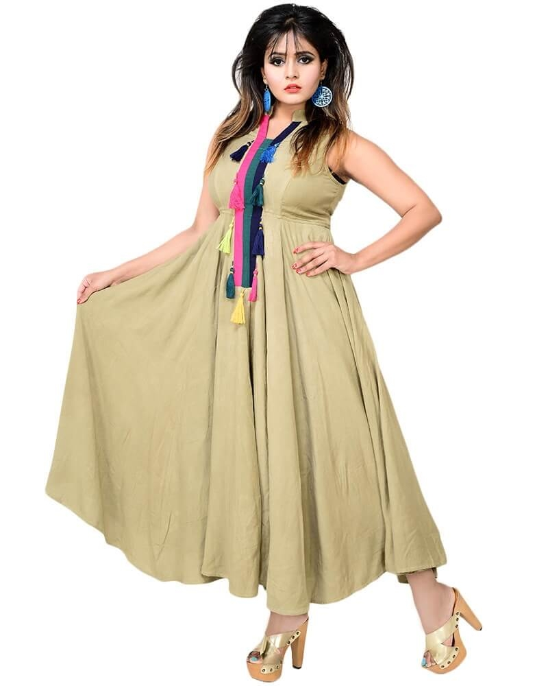 Aesthetic Ethnic Style Fit and Flare Tussel Dress