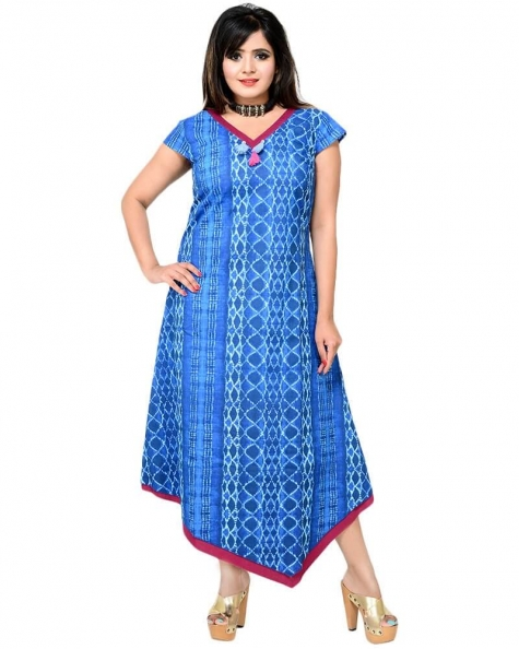 Modish Asymmetric Fusion Wear Indigo Dress