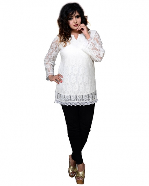 Fashionable Off White Net Lace Tunic Top