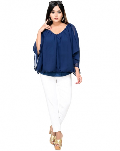 Designer Cape Style Regular Pleated Top