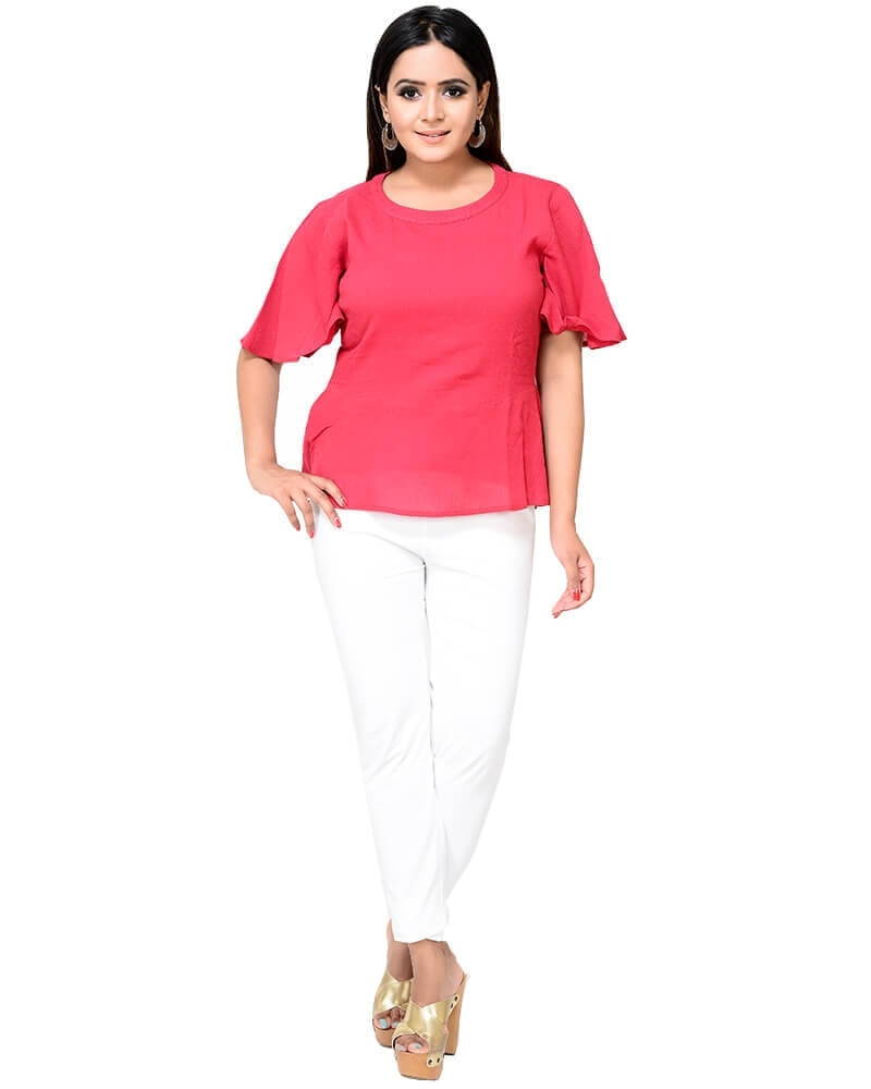 Suave Cotton Crape Red Peplum Top