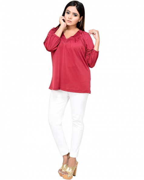 Gorgeous Maroon Pleated Raglan Sleeve Top