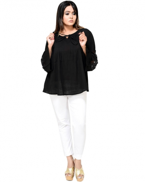 Ultra Modish Bell Sleeved Pleated Top