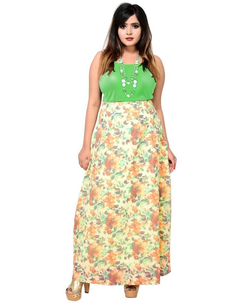 Designer Floral Print A Line Skirt