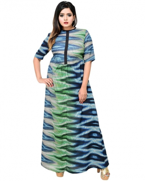Elegantly Printed Maxi Dress
