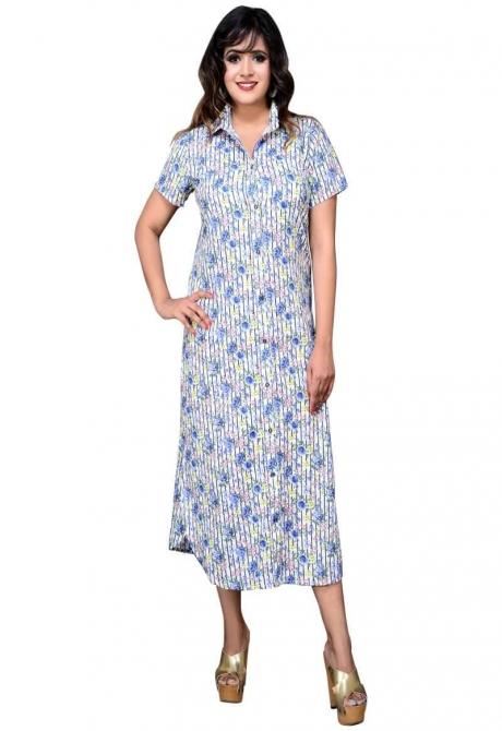 Designer Floral Stripes Printed Shirt Dress