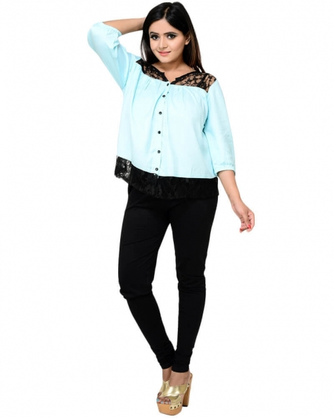 Modish Sky Blue Blouson Top