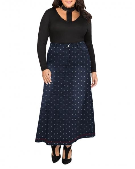 Reynolds printed denim maxi skirt