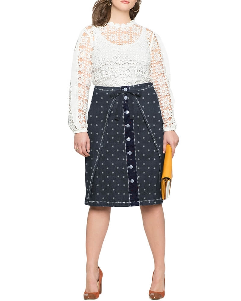 Samara twill tie denim skirt