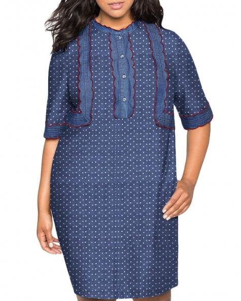 Jael ruffle detailed Denim dress