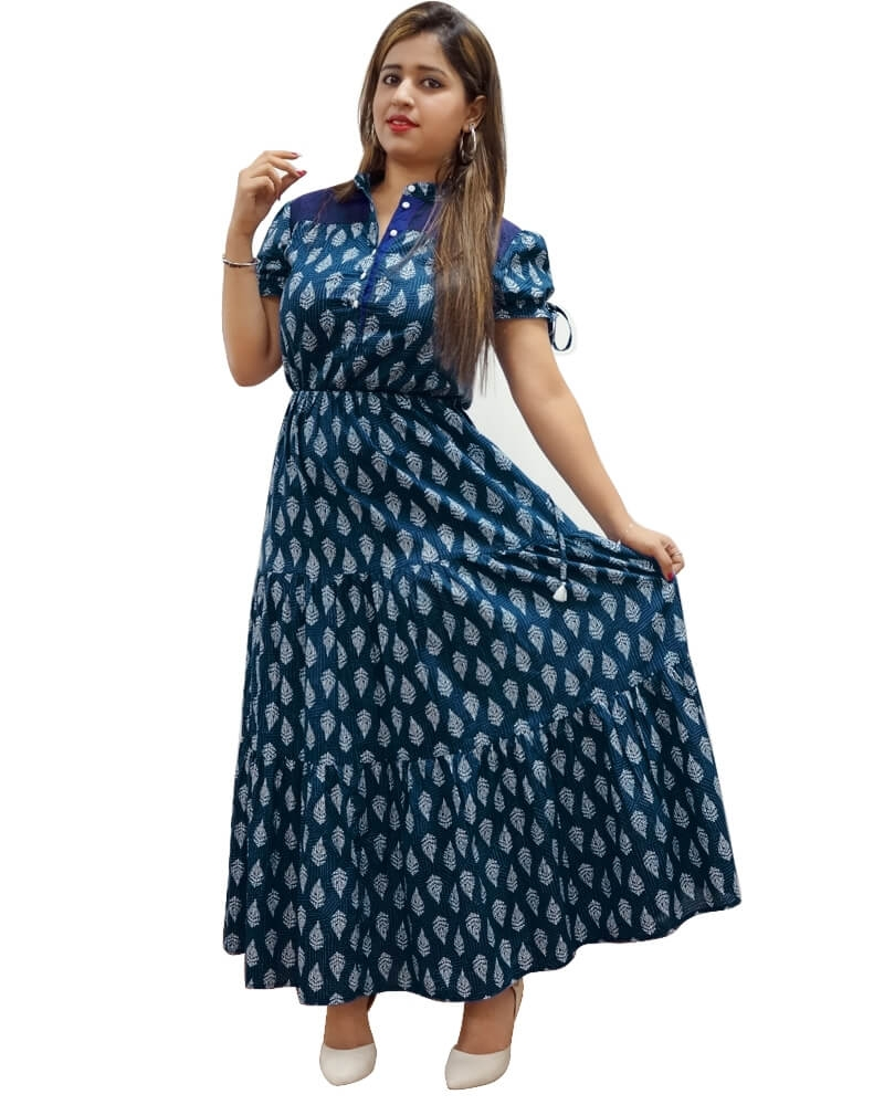 Adorable Flared Blue Designer Maxi Dress