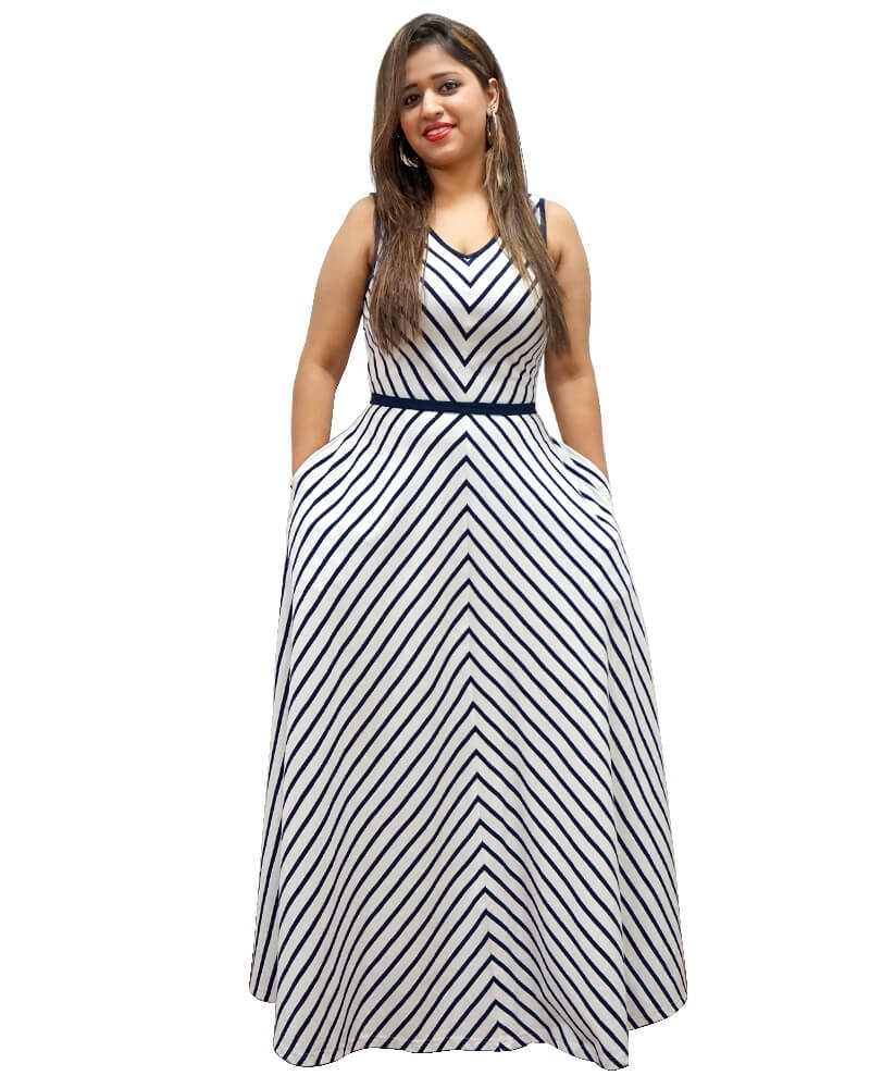 Lovable Asymmetrical Striped White Maxi Dress