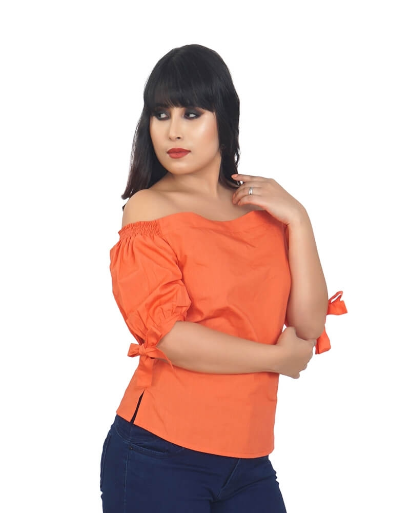 DETACHABLE COLD SHOULDER ORANGE TOP