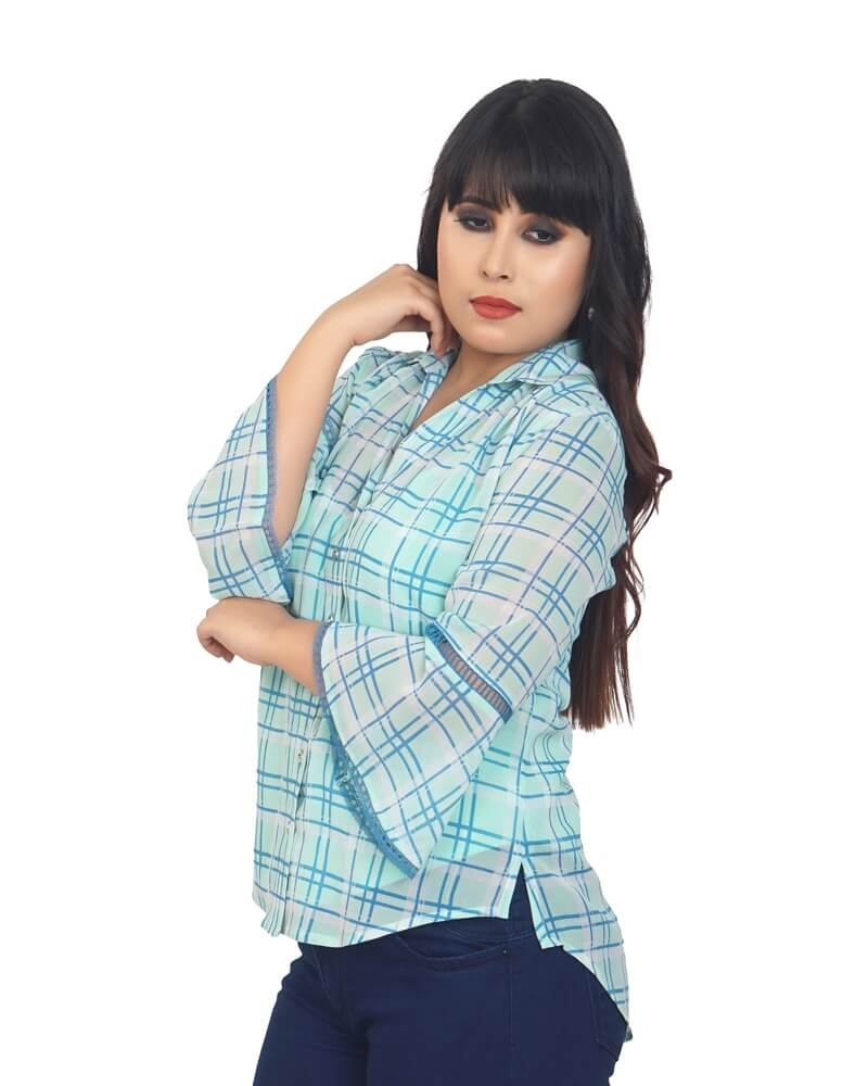 ALIA PRINTED CHECKS SHIRT
