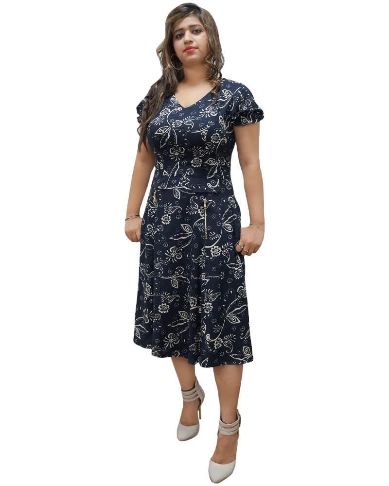 Sexy Navy Blue Flit and Flared Dress