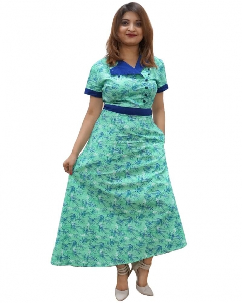 Pastel Green and Blue A-Symmetrical Dress