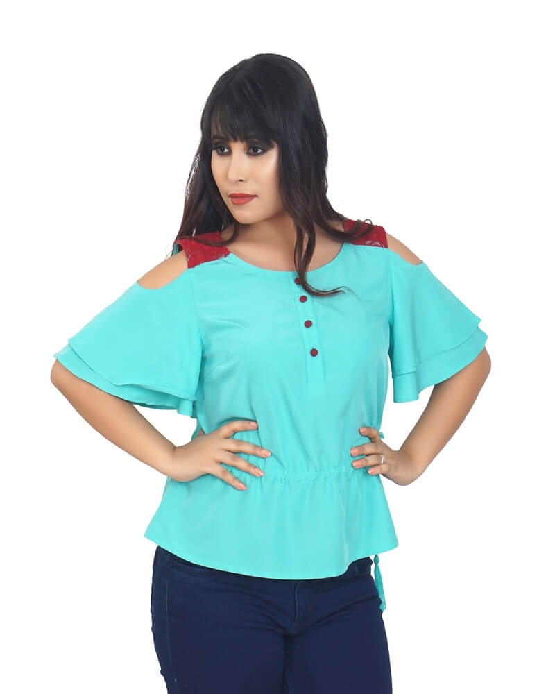 SOLID TURQUOISE REGULAR TOP